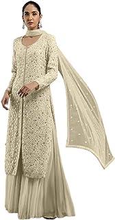 فستان إسلامي بيج هندية باكستاني مسلم بمرآة عمل الثقيلة جورجيت سلوار قميص مستقيم للنساء 6205