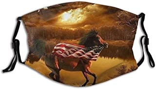 PENGTU Face Cover American Flags Horse Balaclava Unisex Reusable Windproof Anti-Dust Mouth Bandanas Outdoor Camping Motorcycle Running Neck Gaiter with 2 Filters for Teen Men Women