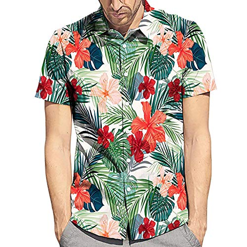 Fashion Men s Shirts Summer New Style Fashion Leaf Flower Style Short-sleeved Shirt Mens Shirts Top Blouse high quality-as show_M_0