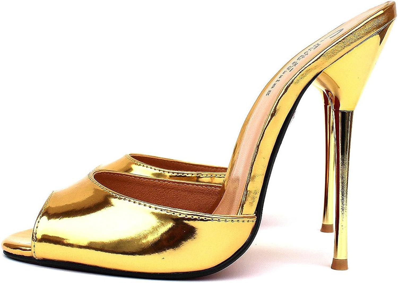 Damen Hausschuhe Slingback Slingback Slingback Sandalen Stilett Metall Hoch Hacke Schuhe Schlüpfen Gucken Zehe Gold Silber Sommer Kleid Party Größe 40-48  e129e6