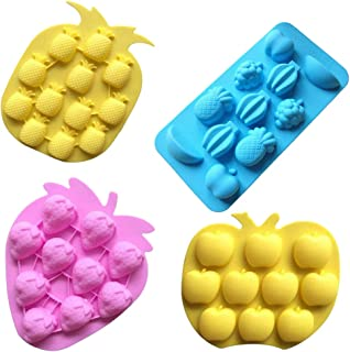 Sakolla Chocolate Candy Silicone Mold, Strawberries/Pineapples/Apples/Grapes Flexible Baking Molds for Ice Cube, Jelly, Biscuits, Gummy Candies - Set of 4