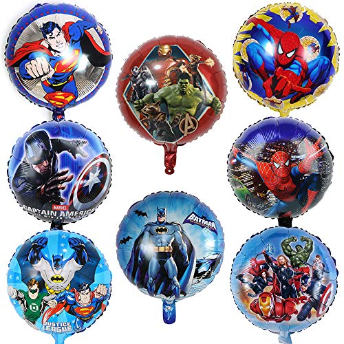 SUNSK Globos de Foil para Superhéroes Cumpleaños Decorar Superhero Fiesta Decoraciones Party Suministros Niños Regalo 8 Piezas