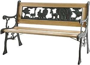 Siena Garden 598843 - Banco infantil de jardín de hierro fundido con diseño de animales (82 x 41 cm)