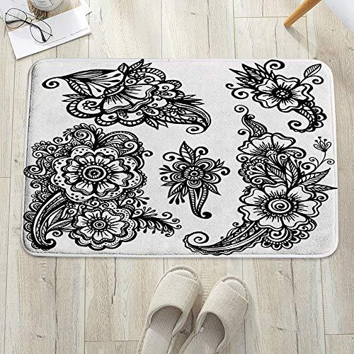 Alfombrilla de baño antideslizante, para baño o ducha,Henna, Dibujado a mano Estilo Vintage Mehndi Composiciones Flo, alfombra de suelo absorbente, para sala de estar, sofá, cojín, caucho, 60 x 100 cm