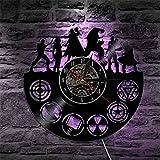 OZ6YA Reloj de Vinilo Creativo con Reloj 3D Reloj de Pared con Registro nostálgico de Marvel Iron Man Reloj nostálgico Retro decoración del hogar Reloj 06 (con luz)