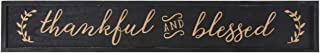 NIKKY HOME Thankful and Blessed Carved Wood Framed Wall Plaque Sign with Inspirational Quote, 36