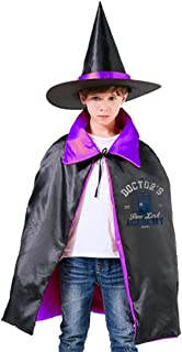 QINWEILU The Doctors Time Lord Academy Doctor Who Unisex Kids Hooded Cloak Cape Halloween Party Decoration Role Cosplay Costumes Outwear Purple