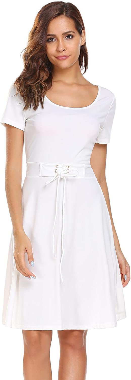 ANGVNS Women's O Neck Short Sleeve Soft Mini Pleated Dresses for Casual Party