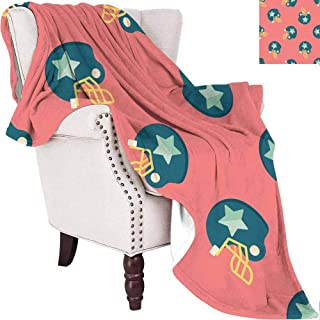 """Football Baby Blankets for Girls Sports Icons with Stars Retro Display Game Safety Headgear Black Great for Travel Or Lounging at Home Dark Coral Yellow Petrol Blue 54""""x72"""""""