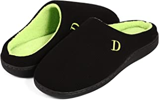 Men's Slippers - Comfort Cotton Knit Memory Foam Slippers Light Weight Terry Cloth House Shoes Anti-Skid Rubber Sole