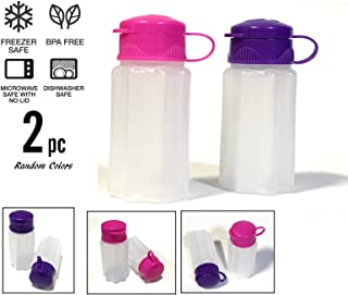 Azi 2pc NO SPILL Mini Camping Salt & Pepper Shakers - To Go Salt Shaker for Picnic Work Lunch Box Travel RV Outdoors Hunting Fishing (1.18 oz each) - BPA FREE Tight Seals (Random Colors)