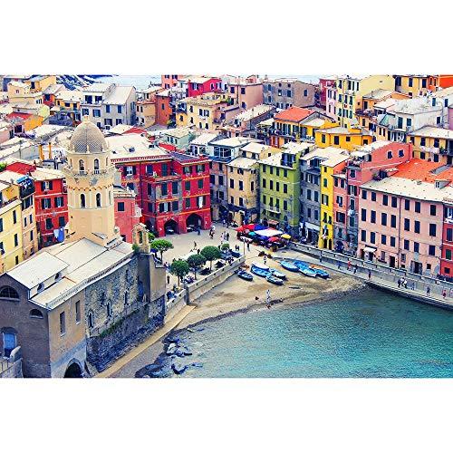 Italia Liguria Case Colorate Puzzle Di Legno 500-6000 Pezzi Buona Sfida Di Intelligenza Giocattoli Di Decompressione Di Rilassamento Gioco 0602 (Size : 4000 pieces)