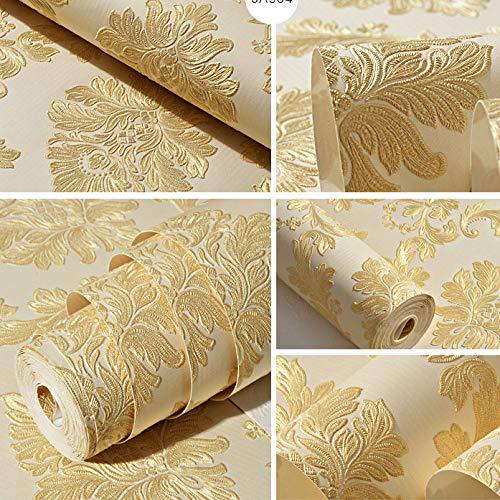 Tessuto non tessuto autoadesivo stile europeo carta da parati damascata carta da parati a rilievo in 3D soggiorno camera da letto sfondo muro giallo adesivi carta da parati
