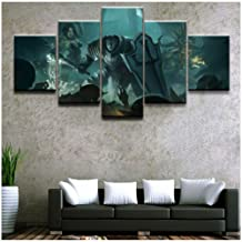 HNFSSK Canvas Painting Decor Picture Canvas Print Painting Wall Art Poster Modern 5 Panel Crusader Diablo Iii Reaper of Souls Witch Doctor for Bedroom-SIZE2