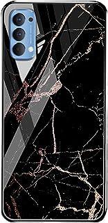 جراب خلفي لهاتف Oppo Reno 4 بنمط رخامي من الزجاج المقوى Reno4 - أسود وبرتقالي