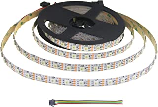 ALITOVE 16.4ft 300 LED WS2813 Individually Addressable RGB LED Strip Light Upgraded WS2812B Programmable LED Pixels Signal Break-point Continuous Transmission Not Waterproof White PCB 5V DC