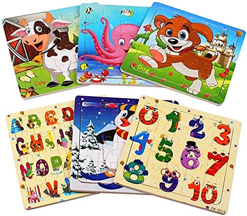 StillCool Puzzles de Madera 20 Pcs, Animales Rompecabezas de Madera Coloridos para Niños Pequeños Aprendizaje Rompecabezas Educativos Juguetes para Niños y Niñas 3-5 Años de Edad (6 Puzzles)