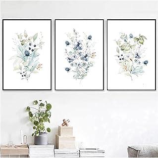 Aquarelle Fleur Bleue Peinture Impressions sur Toile Bouquet De Fleurs Sauvages Plantes Florales Affiches Murales Photos p...