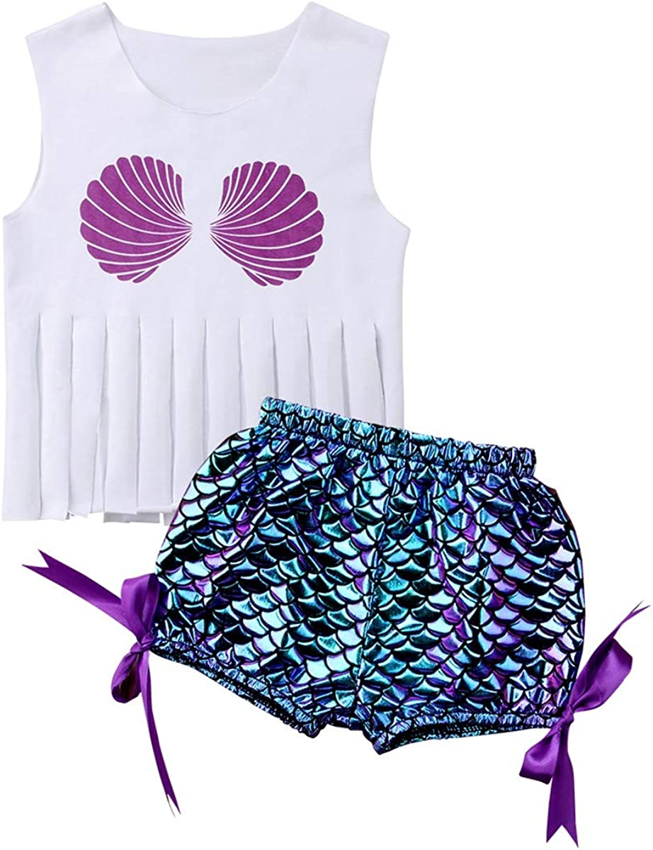 Baby Girls Summer Swimsuit Two-Pieces Sleeveless Tank Tops Short Cute Outfit Suit