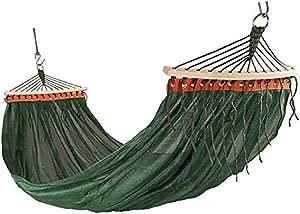 EETYRSD Outdoor Hammock Rollover Double Mesh Breathable Single Park Bedroom Camping Mesh Leisure Chair hammock  Color Green