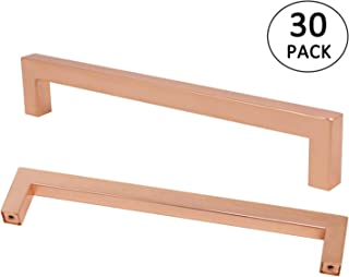 Kitchen Cabinet Pulls Rose Gold Finish 7.5 inch 192mm Hole Centers 30Pack Square Bar Pull Handle Furniture Hardware Shiny Copper Dresser Door Knobs