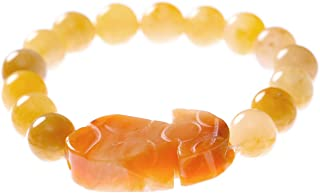 Prime Fengshui Porsperity Feng Shui 10mm Yellow Jade Bead Bracelet with Pi Xiu/Pi Yao Attract Wealth and Good Luck