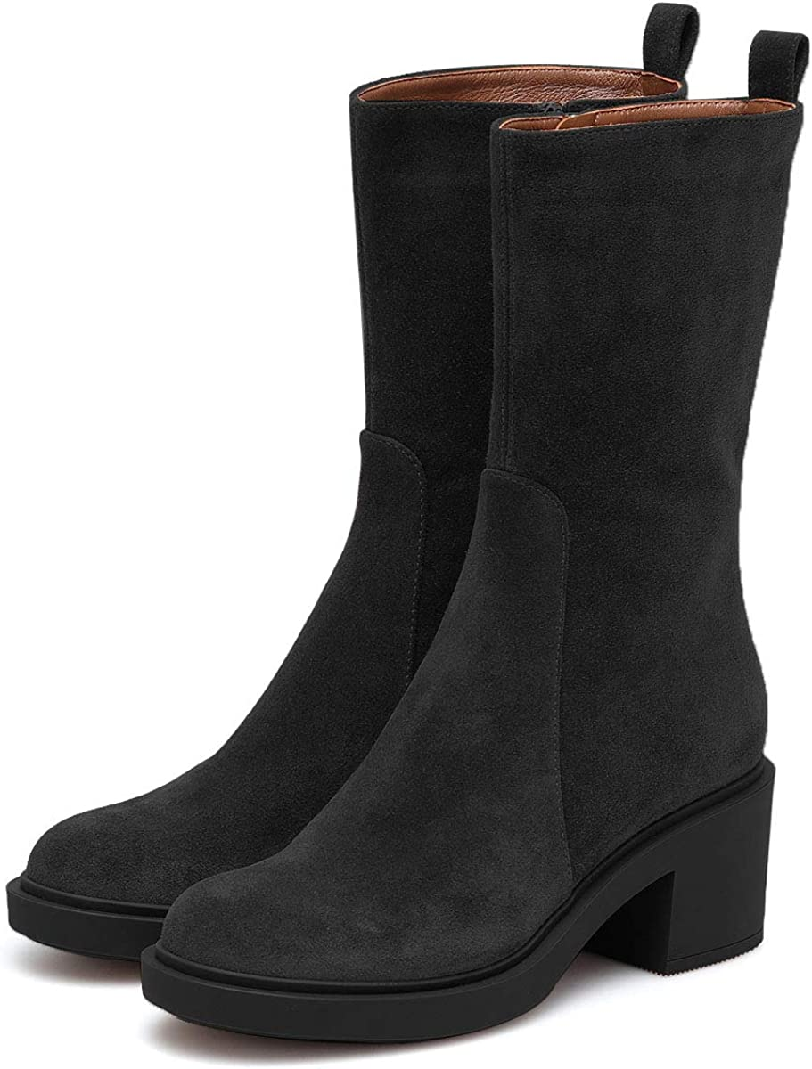 YDN Women Round Toe Chunky Low Heel Mid Calf Boots Casual Side Zipper Winter Suede Dress Shoes