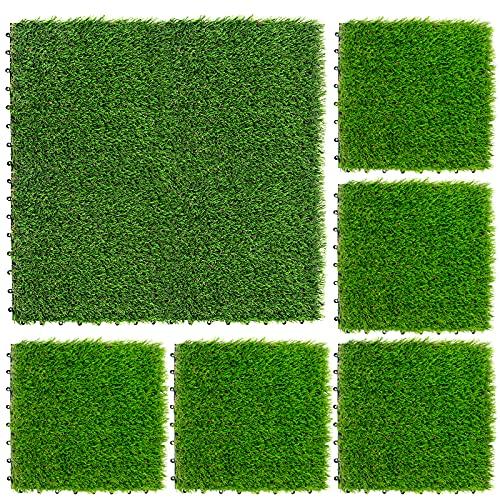NQN 9 Pack Artificial Grass Turf Tile Interlocking Self-draining Mat, 1x1 ft, 1.5 in Pile Height, 12''x12'' Fake Grass Flooring Mat