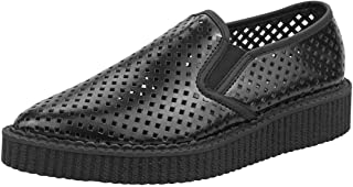 T.U.K. Shoes A8894 Unisex-Adult Creepers, Black Perf Pointed Slip Ons