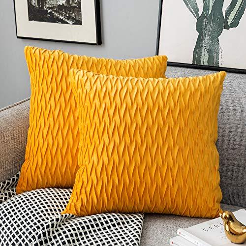 Yamonic Kissenbezüge Set Samt Soft Solid Dekorative Kissen Fall für Sofa Schlafzimmer 40cmx40cm 2er Pack für Couch Bett Sofa Stuhl Schlafzimmer Wohnzimmer, Gelb