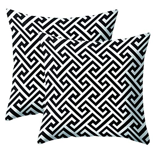 JOTOM Simple Geometric Super Soft Fodere per Cuscini per Divano Divano Letto Federa Cuscino Decorativo per la casa 45X45cm, Set di 2 (Pattern in Bianco e Nero 4)