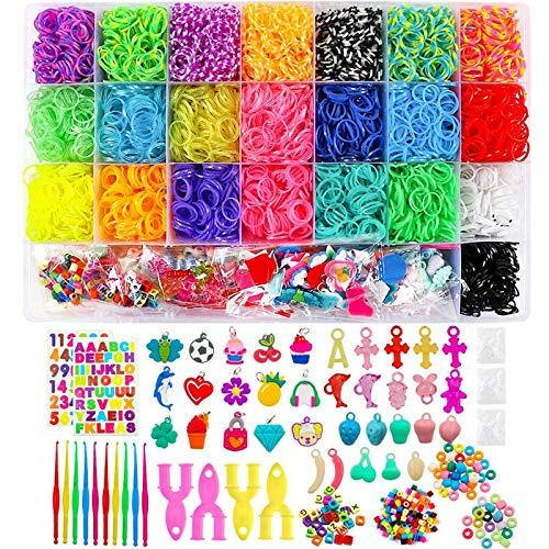 BAKHK DIY Gummibänder Set zum Basteln, 6800 Bunt Gummibänder Starter Box 100 S-Clips, 100 Perlen, 35 Charms, 10 Häkelnadeln, 4 Y-Loom, 2 größere Häkelnadeln, 2 Blätter Aufkleber
