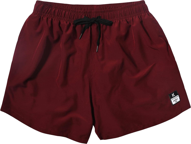 MADHERO Mens Short Swim Trunks 4 Way Stretch Swim Shorts Bathing Suits Mesh Lining