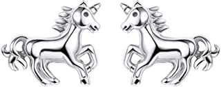 Cute Unicorn Jewelry 925 Sterling Silver Animal Stud Earrings or Necklace, with Customize Service