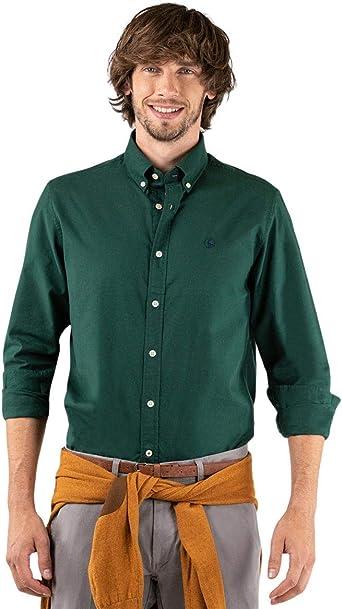 El Ganso Camisa Basket Weave Liso Verde Botella Casual