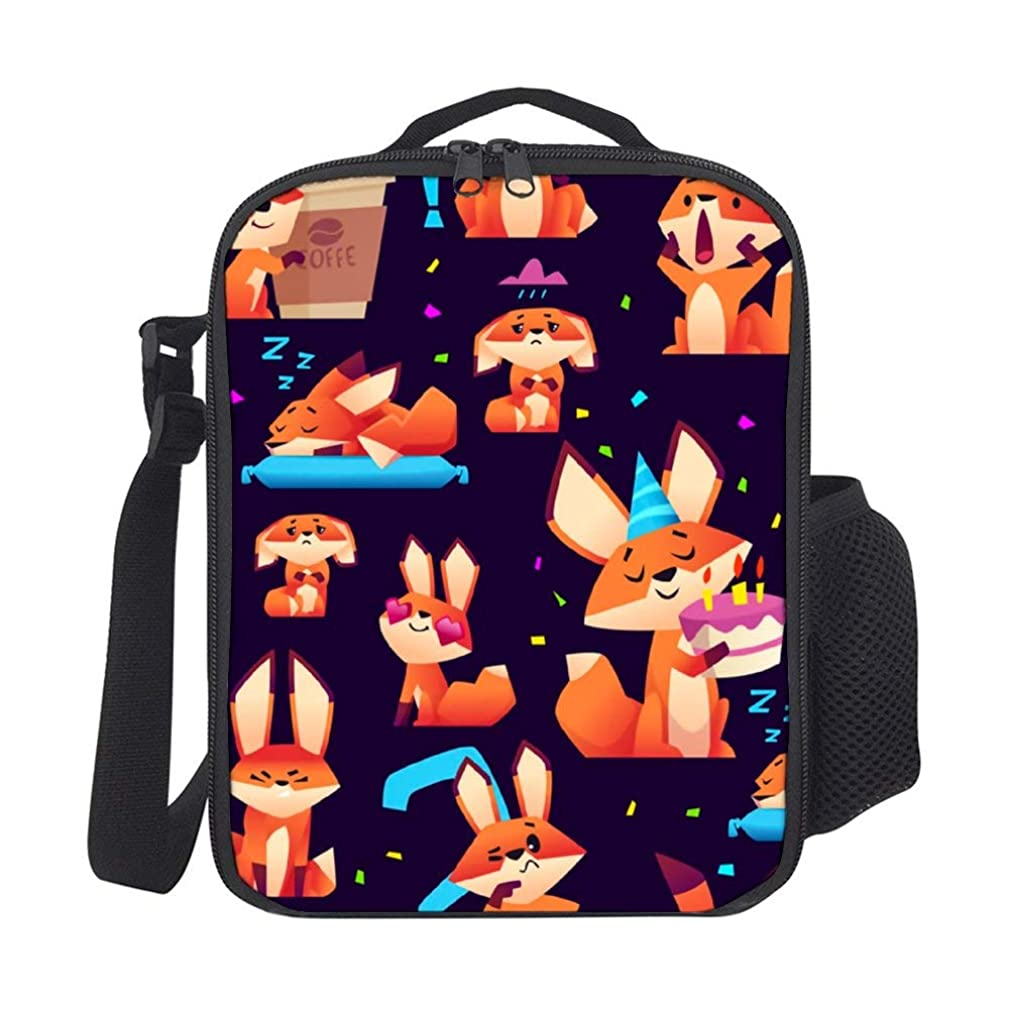 SARA NELL Kids Lunch Box Lunch Backpack Fox Pattern Orange Wild Animal Colored Fox Cute Lunch Bag Large Lunch Boxes Cooler Meal Prep Lunch Tote With Shoulder Strap For Boys Girls Teens Women