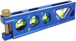 WORKPRO Torpedo Level, Magnetic, Verti. Site 4 Vial for Conduit Bending,Aluminum Alloy Construction,6.5-inch