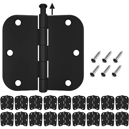 HOSOM 18 Packs Door Hinges Matte Black 3.5, Interior Door Hinges with 5/8 Radius Corners