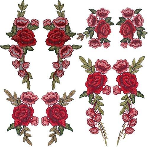 Tesan Aufnäher Blumen Rose Stickerei Applikation Patches für T-Shirt Jeans (8 Stück)