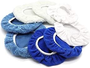 AUTDER 5 Inch & 6 Inch Car Polisher Pad Bonnet, Waxers Bonnet Set, Woollen+Cotton+Microfiber+Coral Fleece, 2 Pcs for Each, Pack of 8 Pcs