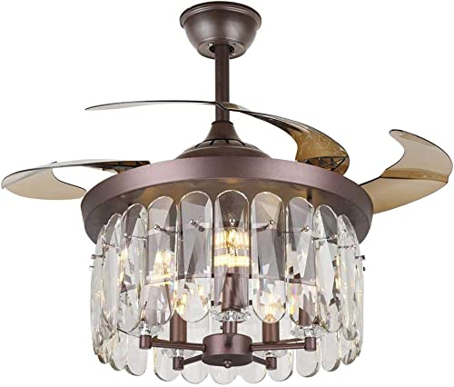 """popular Ruiwing 42"""" online Luxury Ceiling Fan with Light Crystal Brown Fandelier Invisible 4-Blade Ceiling Fans Remote Retractable 3 Colors 3 Speeds online sale Ceiling Lighting Fixture for Indoor Living Room Bedroom Restaurant, E14 Bulbs Required sale"""