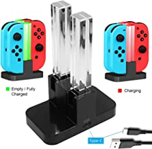Whiteoak Joy-Con 4 in 1 Charger, for Nintendo Switch Joy-Con Charging Dock Station Stand with LED Indicator, [Upgrade Version] with Free Type C Cable