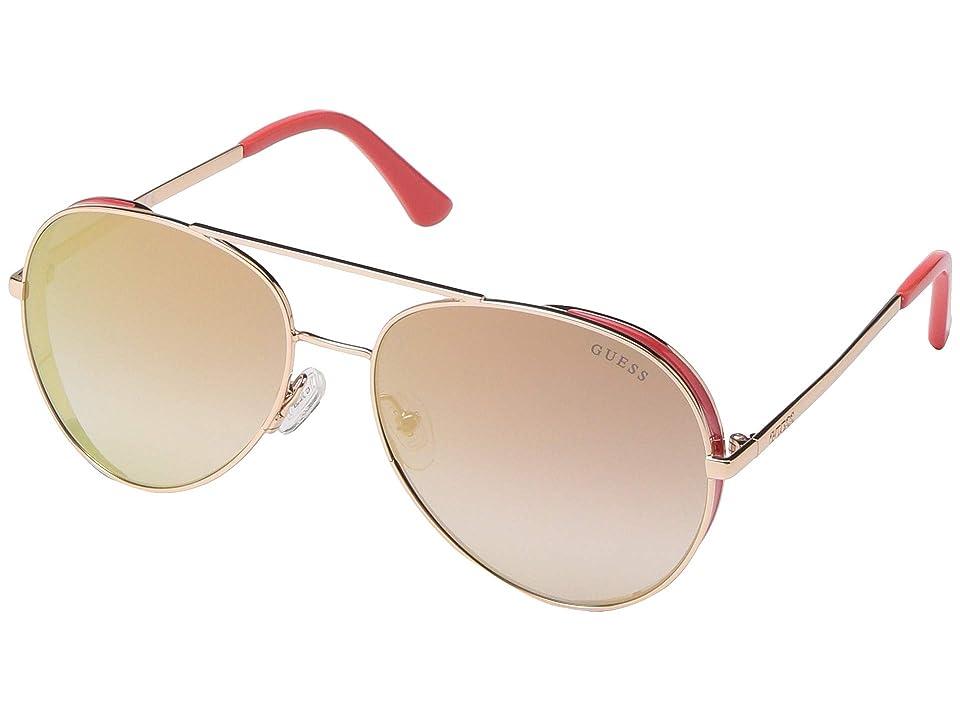 GUESS GU7607 (Shiny Rose Gold/Bordeaux Mirror) Fashion Sunglasses