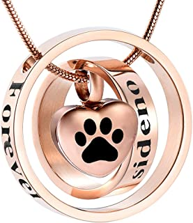 Forever in My Heart,No Longer by My Side Cremation Pet Urn Necklace Screw Opens and Lock Ashes Pendant Jewelry for Dog Cat