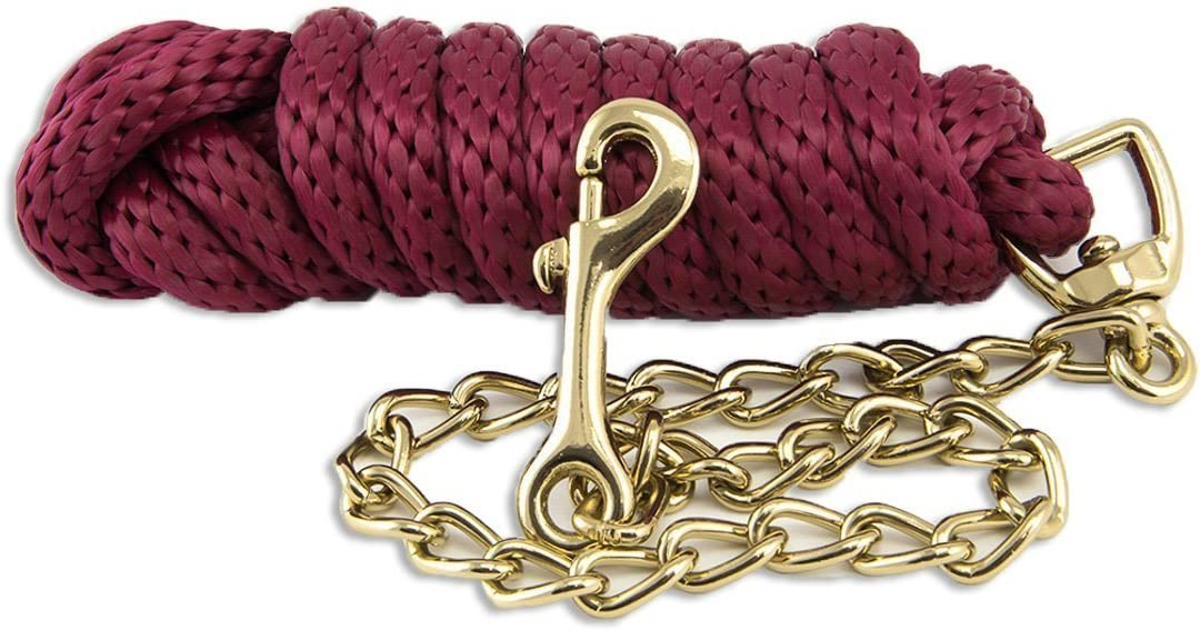 Tims Equestrian Lead Chain for Horses 1.6 m Long with 40 cm Chain Lead Rope