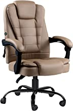 Artiss Massage Office Chair PU Leather Recliner Office Chair Computer Gaming Chairs Espresso Adjustable Backrest