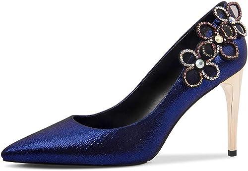 Yierkangxie Sandales Les Les dames Sandales Sandales Sandales Printemps Chaussures de Sport en Plein air Chaussures Sauvages Strass en Cuir à Talons Hauts Bleu, Talon 8 cm (Couleur   bleu, Taille   35) 728