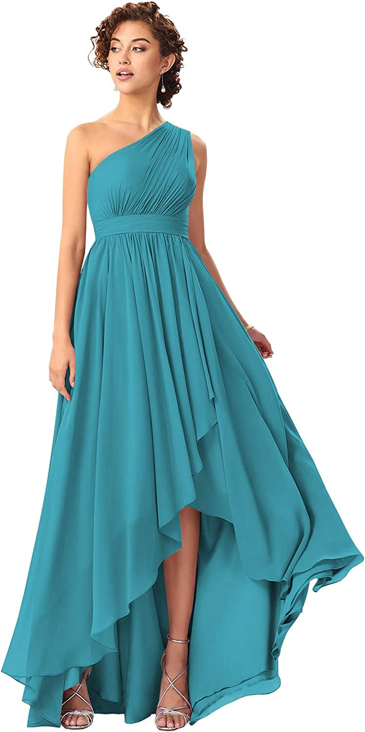VCCICANY One Shoulder A-Line Chiffon Bridesmaid Dress for Women Pleated Hi-Lo Formal Gown