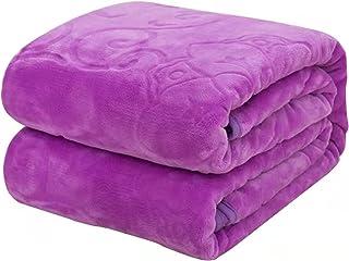 Fusong Filtar bekväma filtar ren bomull filtar sovfiltar soffa filtar picknick filtar sängöverkast sömnhjälpmedel, lila, 1...