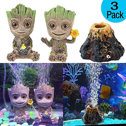 Geenber Aquarium-Vulkan-Dekoration, niedlicher Mini-Baum-Form-Kunstharz, zum Basteln von Sauerstoffpumpe, Luftblasenstein für Aquarien